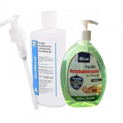 Zestaw mydło antybakteryjne Blue 500 ml + płyn do dezynfekcji rąk Alpinus Sterillhand 500 ml