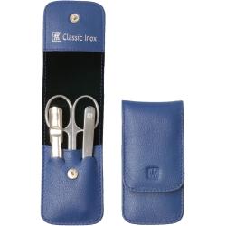 Zestaw do manicure - niebieskie skórzane etui, 3 elementy
