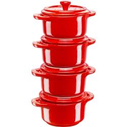 4x Mini Cocotte okrągły 10 cm, czerwony